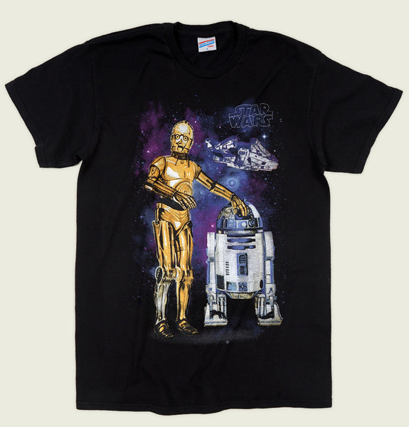 Men T-shirt by Junk Food with R2-D2 and  C-3PO Printed on Black Cotton Unisex Graphic Tee Shirt Showing Wrinkled Tshirt Front - Tees.ca