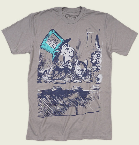 Men T-shirt With Illustration of Man with Huge Hat Having a Tea with Rabbit on Gray Graphic Tee Shirt Showing Wrinkled Tshirt Front - Tees.ca