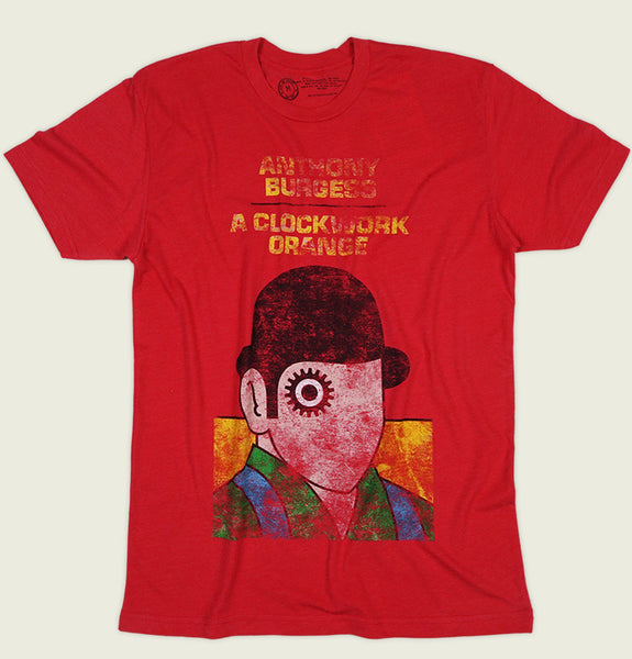 Men T-shirt With Simple Men's Distressed Portrait with Hat Screen Printed on Red Graphic Tee Shirt Showing Wrinkled Tshirt Front - Tees.ca