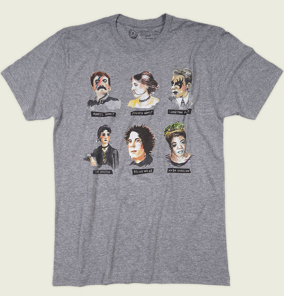 Men T-shirt by Out of Print with Famous Writers Illustrated as Rebellions Printed in on Gray Unisex Graphic Tee Shirt Showing Wrinkled Tshirt Front - Tees.ca