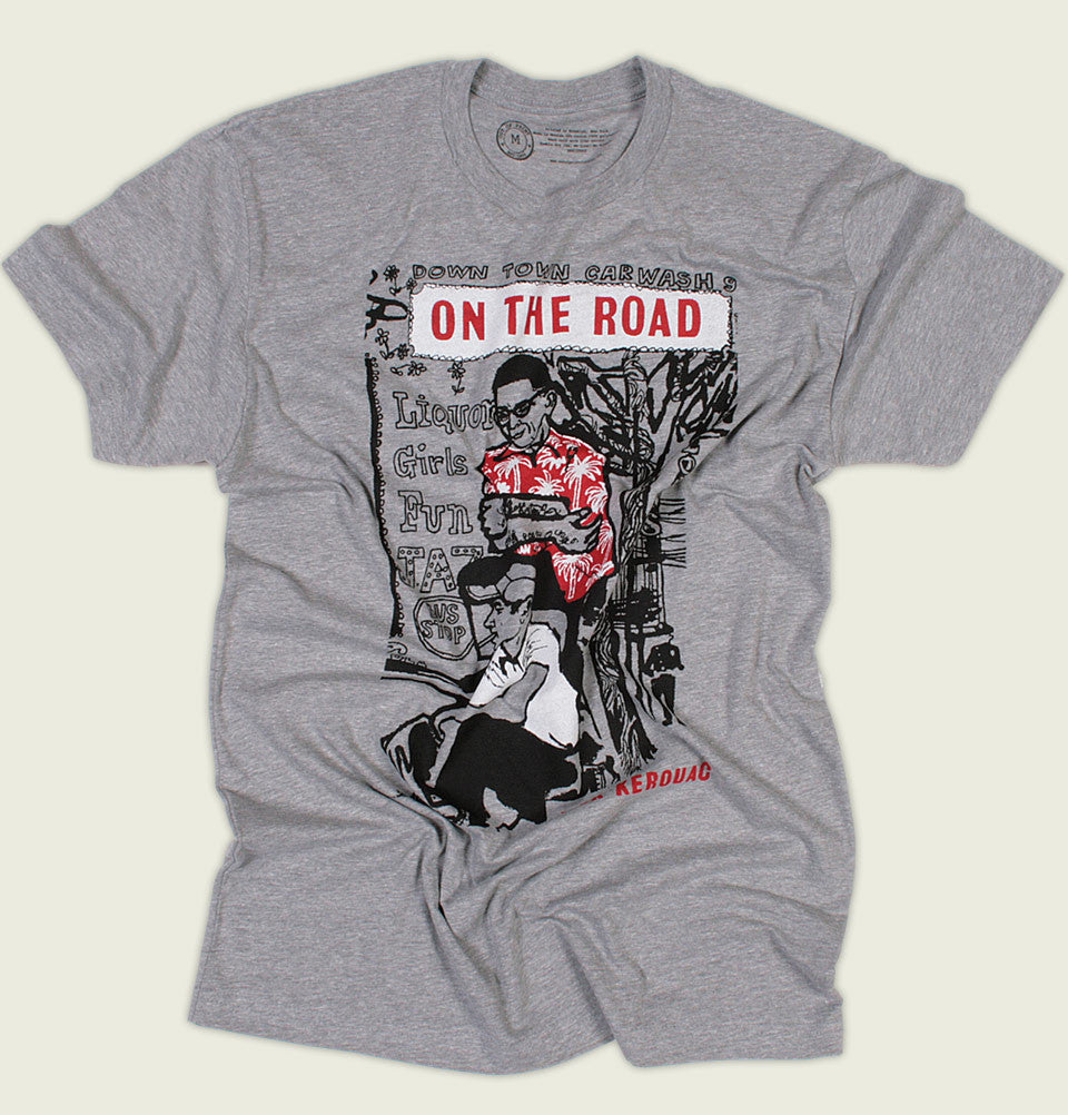 Grey Men's T-shirt ON THE ROAD by Jack Kerouac Graphic Tee Wrinkled - Tees.ca