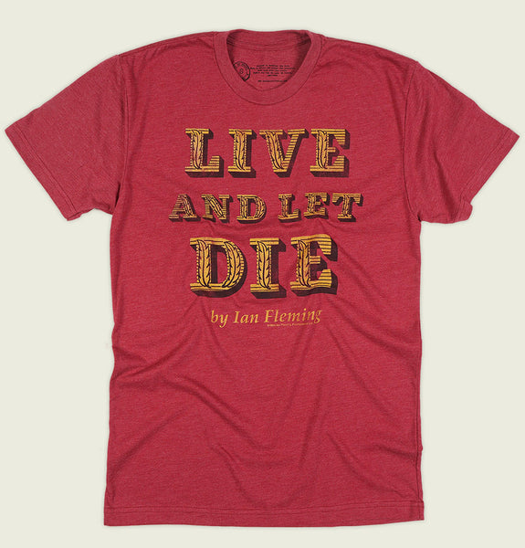 Men T-shirt With Text Live and Let Die in Yellow Printed on Red Graphic Tee Shirt Showing Wrinkled Tshirt Front - Tees.ca