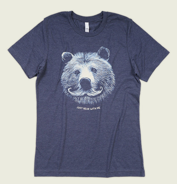 Men T-shirt by Alter Jack with Illustration of Bear Head with a Mustache on Heather Navy Unisex Graphic Tee Shirt Showing Wrinkled Tshirt Front - Tees.ca