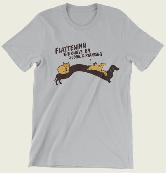 Flattening the curve by social distancing T-shirt