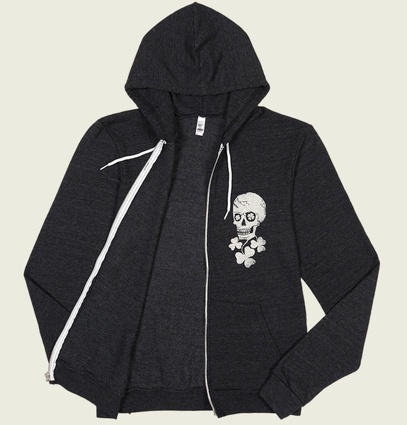 Hoodie with Skull and Shamrock Underneath Screen Printed on left chest on Tri Blend Heather Black Full Zip Hooded Sweatshirt Showing Hoody Front - Tees.ca