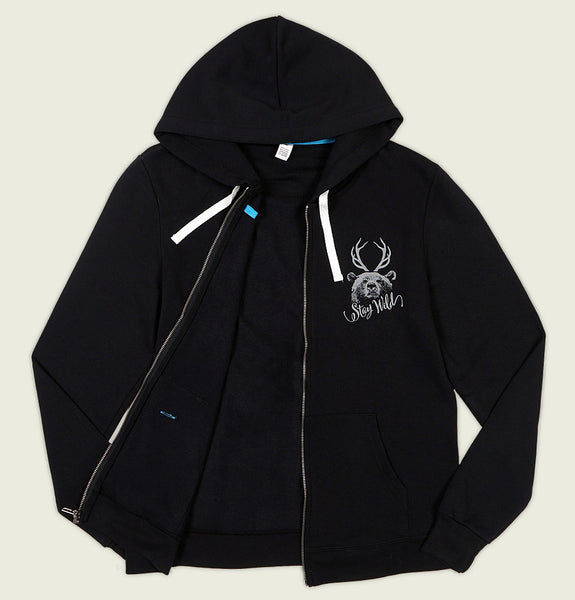 Hoodie with Bear Head and Antlers and Stay Wild Text on left chest on Poly Cotton Blend of Black Full Zip Hooded Sweatshirt Showing Hoody Front - Tees.ca
