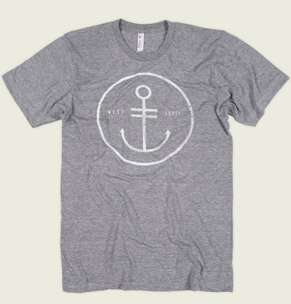 Men T-shirt by Alter Jack Circled Anchor and West Coast Words on Heather Grey Unisex Graphic Tee Shirt Showing Wrinkled Tshirt - Tees.ca