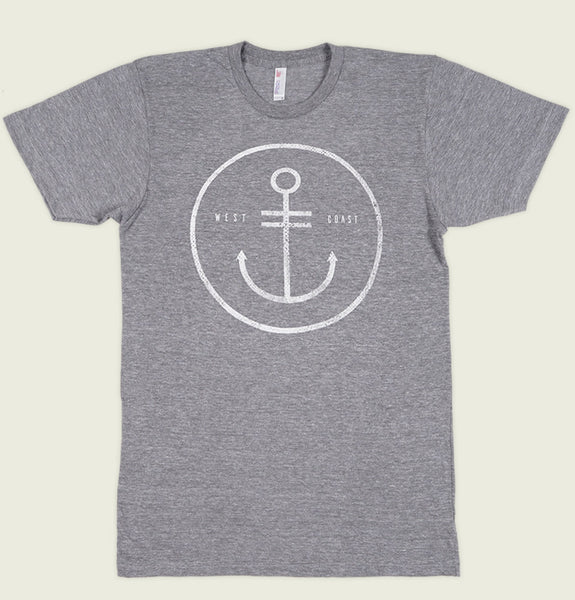 Men T-shirt by Alter Jack Circled Anchor and West Coast Words on Heather Grey Unisex Graphic Tee Shirt Showing Flat Tshirt - Tees.ca