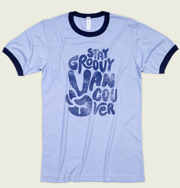STAY GROOVY VANCOUVER Unisex Ringer T-shirt - t-shirtology - Tees.ca