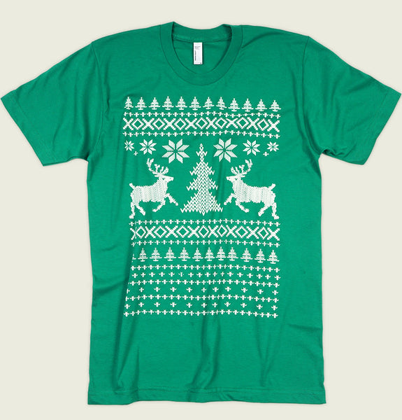Men T-shirt by T-shirtology With Ugly Christmas Sweater Inspired Design with Raindeers on Green Cotton Unisex Graphic Tee Shirt Showing Wrinkled Tshirt - Tees.ca