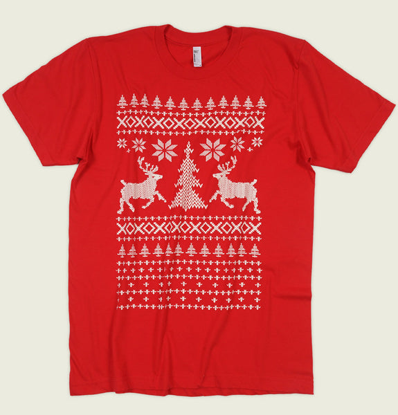 Men T-shirt by T-shirtology With Ugly Christmas Sweater Inspired Design with Raindeers on Red Cotton Unisex Graphic Tee Shirt Showing Wrinkled Tshirt - Tees.ca