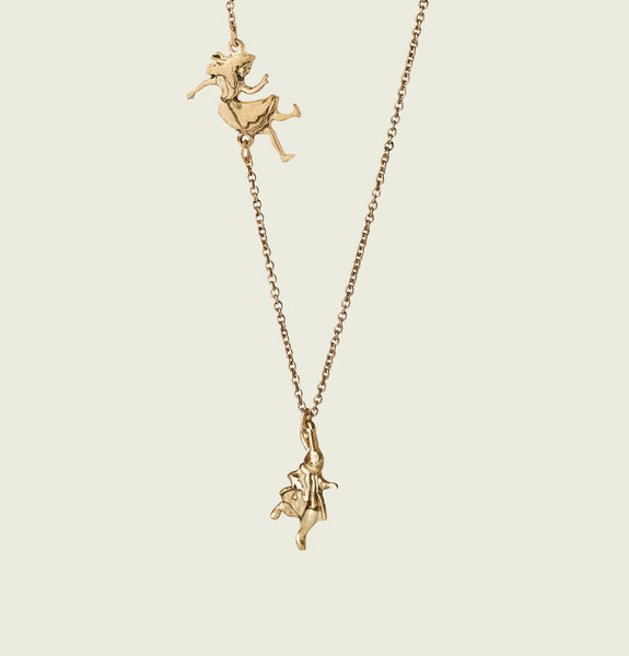 ALICE IN WONDERLAND Plated Gold Necklace  - Tees.ca