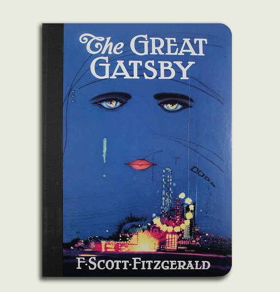 Notebook THE GREAT GATSBY by F. Scott Fitzgerald Blue Front Cover Showing Face and Cityscape Underneath from Original Book Cover - Tees.ca