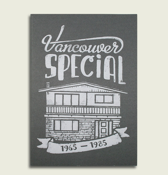 Notebook with Screen Printed VANCOUVER SPEACIAL HOUSE in White on Dark Grey Cover Showing Front View - Tees.ca