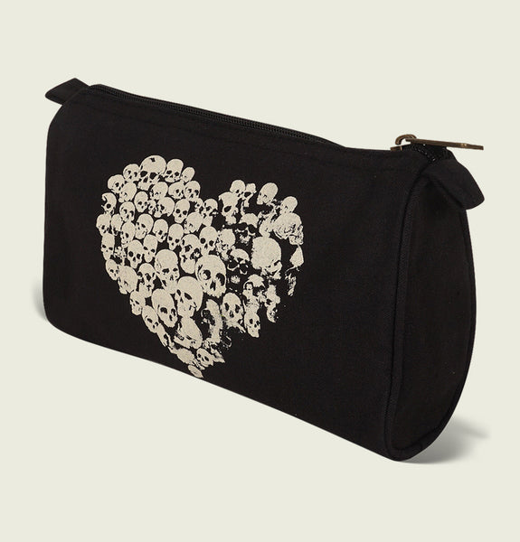 Heart Filled With Skulls Illustration in White Printed on Black Sustainable 100% Cotton Canvas Pouch With Zipper Showing Pouch Side View - Tees.ca