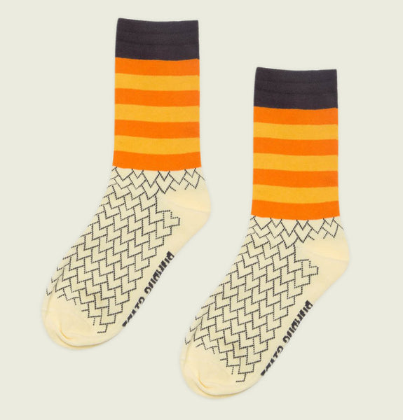 Socks WHERE THE WILD THINGS ARE with Yellow and Orange Stripes Around Ankle Area and Off White Body Showing Poly Cotton Literary Socks - Tees.ca