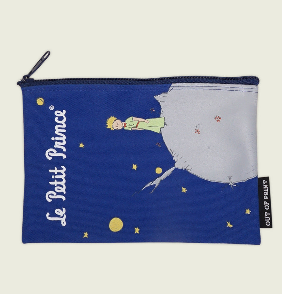 THE LITTLE PRINCE by A. de Saint-Exupéry Blue Zippered Bag Showing Little Boy Standing on Small Planet Watching Stars Printed Showing Pouch Front - Tees.ca