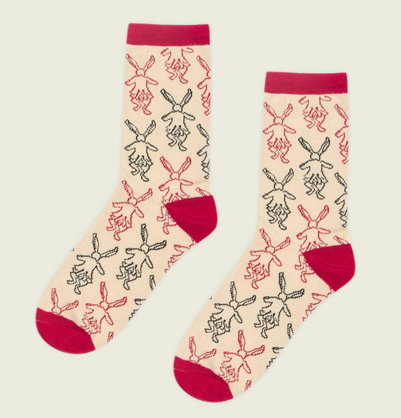 Socks ALICE IN WONDERLAND with Outlined Bunny Illustration in Red and Black Multiplied on Natural Poly Cotton Literary Socks - Tees.ca