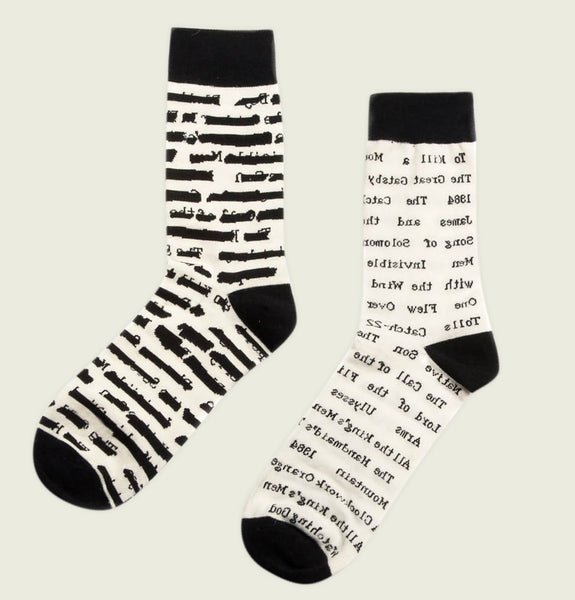 Socks BANNED BOOKS with Banned Books Titles Written all over on poly cotton blend White Socks Showing Literary Socks in Pair - Tees.ca
