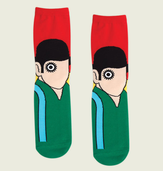 Socks A CLOCKWORK ORANGE with Men face with Hat and Round Eye on poly cotton Red and Green Socks Showing Literary Socks in Pair - Tees.ca