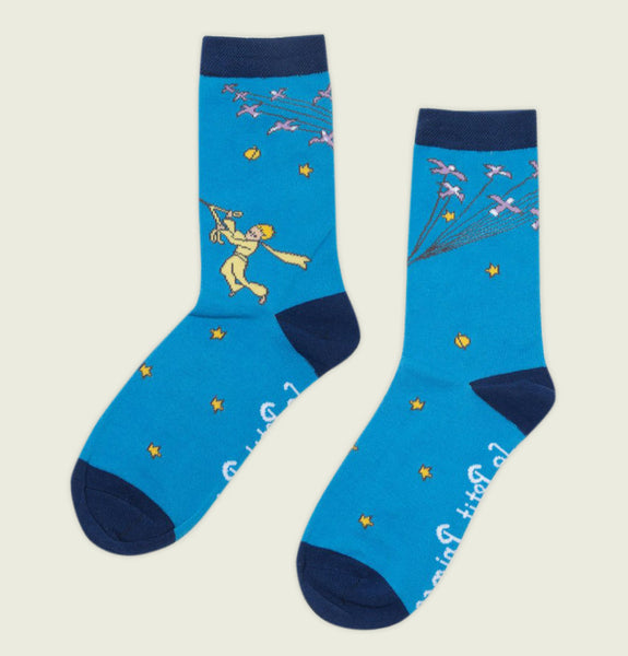 Socks LITTLE PRINCE Showing Illustration of Little Boy with Bow and Arrow Flying Among the Stars and Planets on Blue Poly Cotton Literary Socks - Tees.ca