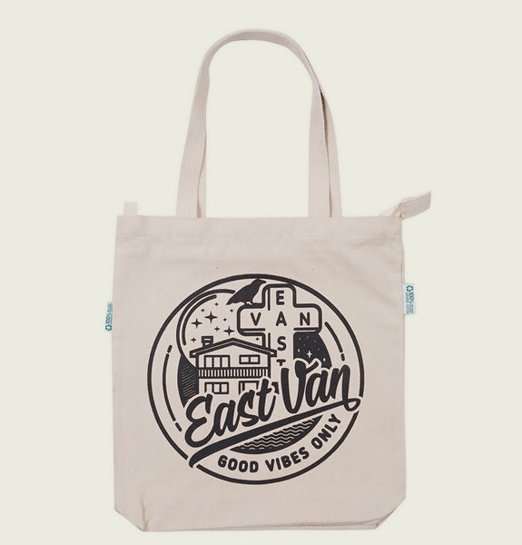 EAST VAN GOOD VIBES TOTE BAG - Urban Town - Tees.ca