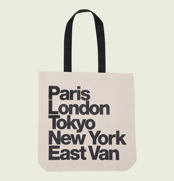 PARIS LONDON TOKYO NEW YORK EAST VAN TOTE BAG - Urban Town - Tees.ca