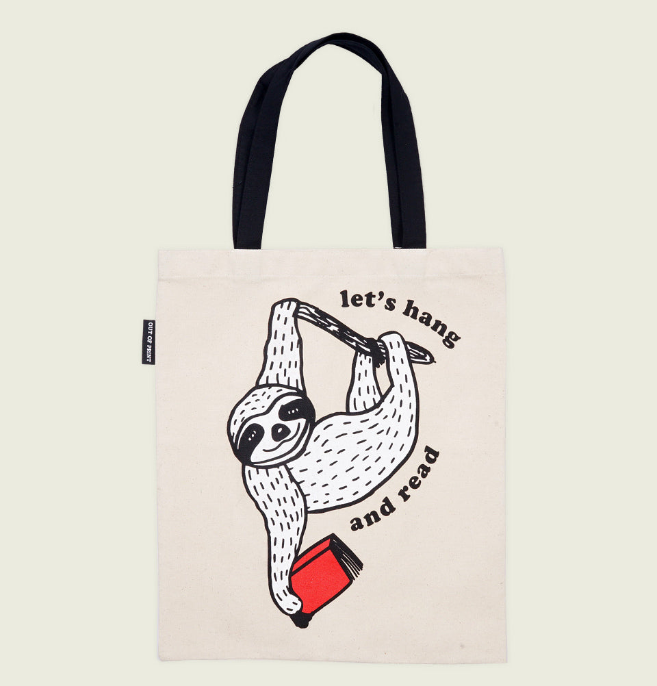 BOOK SLOTH - LET'S HANG AND READ TOTE BAG - Out of Print - Tees.ca