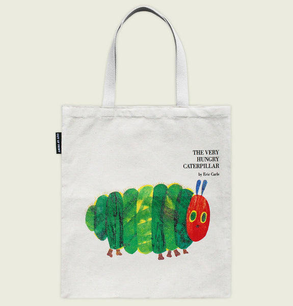 THE VERY HUNGRY CATERPILLAR by Eric Carle Natural Tote Bag Showing Caterpilla Illustration with Green Body and Red Head on the Front - Tees.ca