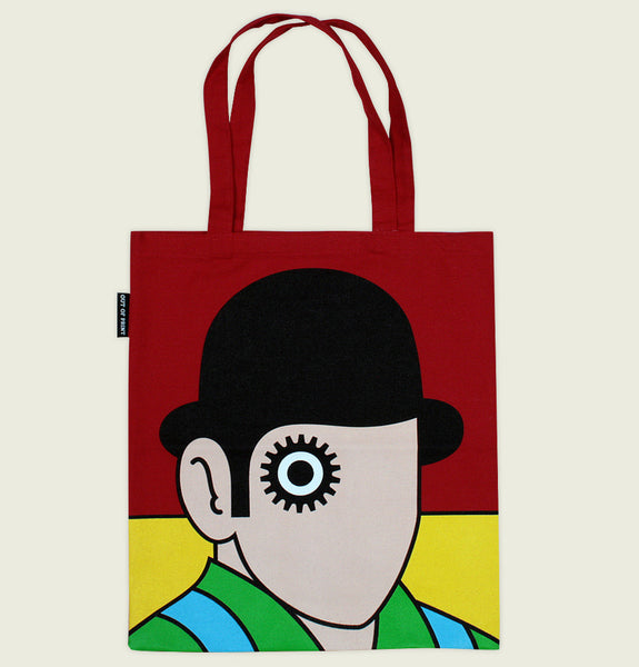 Tote Bag by Out of Print With Portrait of Men Wearing a Hat and Heavy Eye Make up on Red Canvas Tote Showing Tote Bag Front - Tees.ca