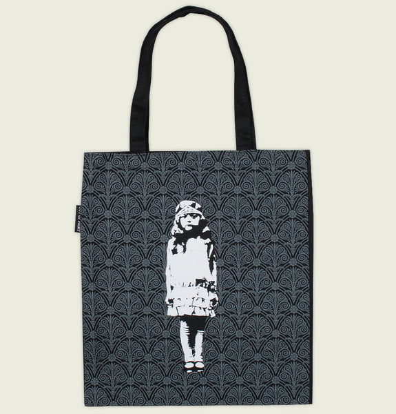 Canvas Tote Bag by Out of Print With Illustration of Girl Standing from Miss Peregrines Home for Peculiar Children on Black Showing Bag Front - Tees.ca