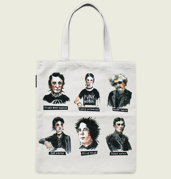 PUNK ROCK AUTHORS Natural Tote Bag by Out of Print Front - Tees.ca
