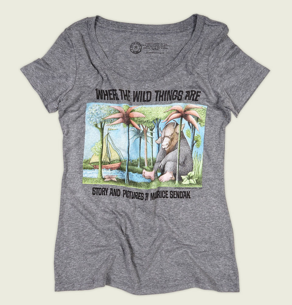 Womens T-shirt With Illustration of Monster Sitting by Palm Trees at the Beach with Boats Sailing on Grey Graphic Tee Shirt Showing Wrinkled Tshirt - Tees.ca