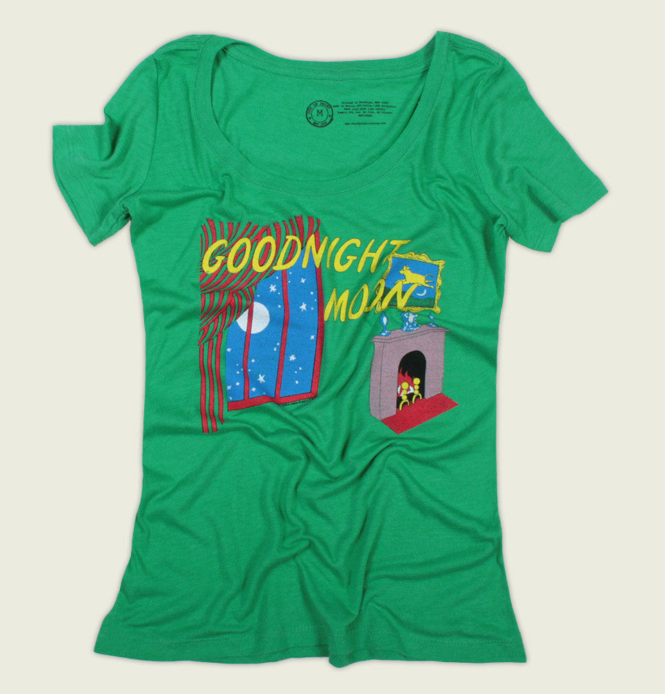 Green Scoop Neck T-shirt GOODNIGHT MOON by Margaret Wise Brown Women's Graphic Tee Wrinkled - Tees.ca