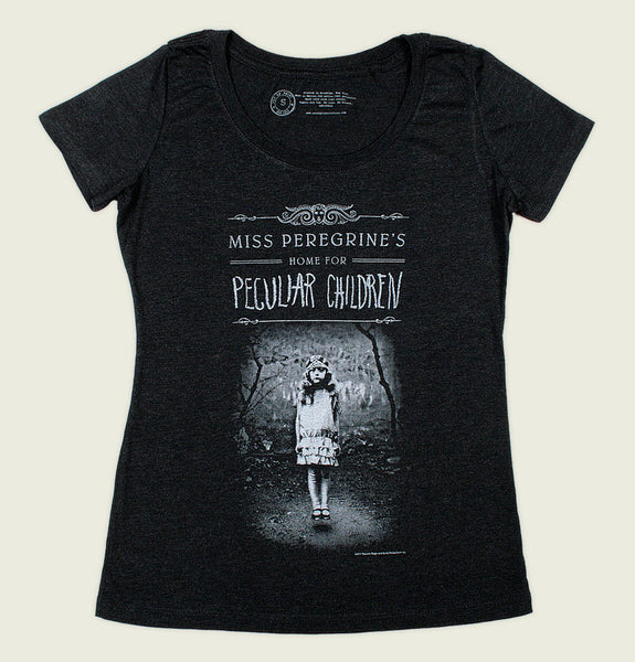 Women T-shirt by Out of Print With Illustration of Girl Standing from Miss Peregrines Home on Black Graphic Tee Shirt Showing Flat Tshirt - Tees.ca