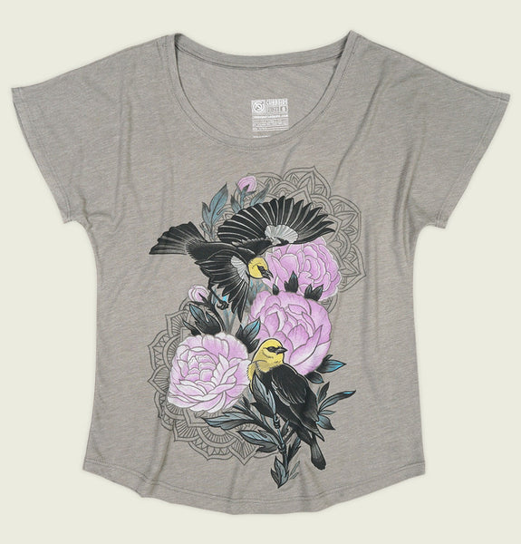 Women T-shirt by Curbside Clothing with Black Birds Around Pink Flowers on Grey Triblend Dolman Graphic Tee Shirt Showing Wrinkled Tshirt Front - Tees.ca