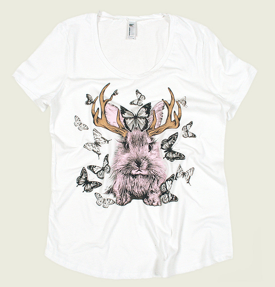 Women T-shirt With Illustration of Pink Jackalope and Butterflies Flying Around the Bunny Printed  on White Tee Shirt Showing Wrinkled Tshirt - Tees.ca