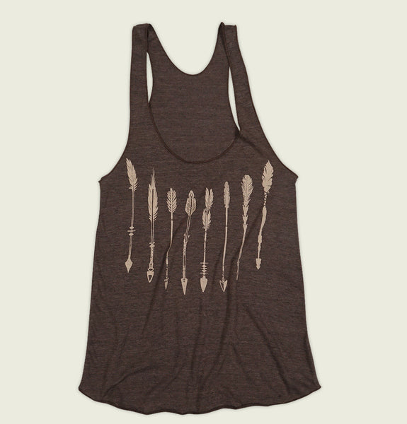 Women Tank Top With Illustration of Arrows Pointing up Screen Printed on Brown Triblend Racerback Tank Showing Wrinkled Top - Tees.ca