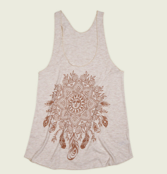 Women Tank Top With Illustration of Bohemian Sun Mandala Screen Printed on Natural Triblend Racerback Tank Showing Wrinkled Top - Tees.ca