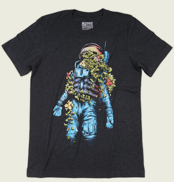 Men T-shirt by Curbside with Plant Ivy Growing Inside and Out of Astronaut Screen Printed on Black Graphic Tee Showing Flat Tshirt Front - Tees.ca