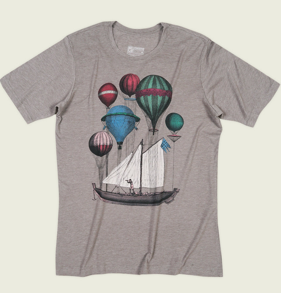 Men T-shirt by Curbside Clothing with Illustration of Sail Flying on Gas Balloons on Grey Unisex Graphic Tee Shirt Showing Wrinkled Tshirt Front - Tees.ca