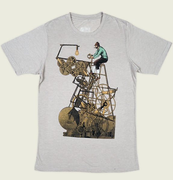 Men T-shirt by Curbside Clothing with Men Riding Bike Like Machine on Grey Poly Cotton Unisex Graphic Tee Shirt Showing Flat Tshirt Front - Tees.ca