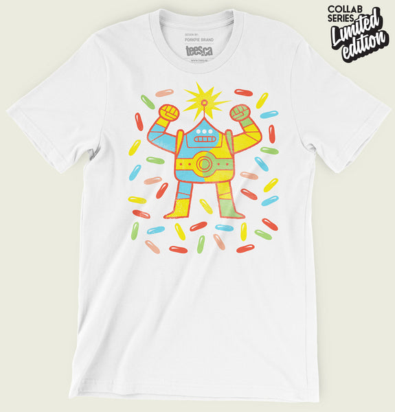 Men T-shirt With Multicolored Dancing Robot Illustration on White Unisex Graphic Tee Shirt Showing Wrinkled Tshirt - Tees.ca