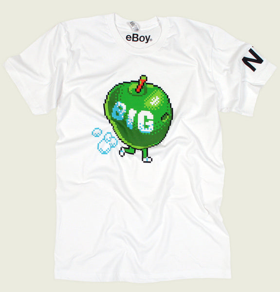 Men T-shirt with Pixelate Illustration of Green Apple with Word Big on Running Screen Printed on White Unisex Graphic Tee Shirt Showing Wrinkled Tshirt - Tees.ca