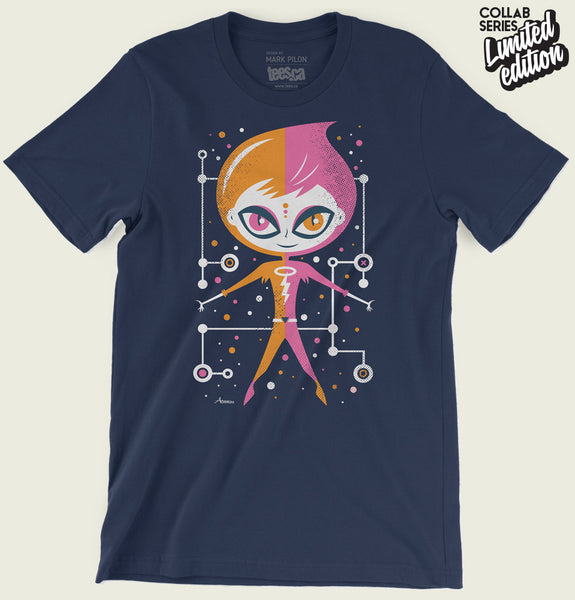 Men T-shirt With Illustration of a Girl Dressed Half Pink Half Orange with Big Eyes  on Navy Blue Unisex Graphic Tee Shirt Showing Wrinkled Tshirt - Tees.ca