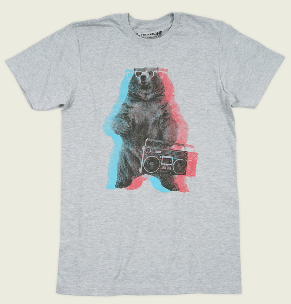 BOOMBOX BEAR Heather Grey Unisex t-shirt - Headline - Tees.ca