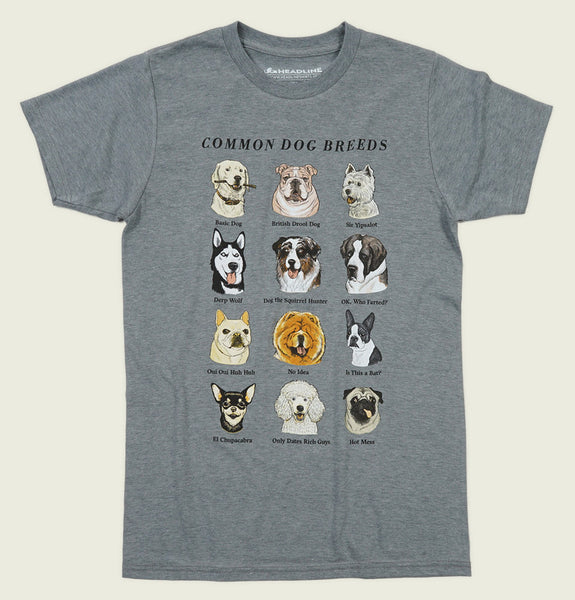 COMMON DOG BREEDS Unisex t-shirt - Headline - Tees.ca