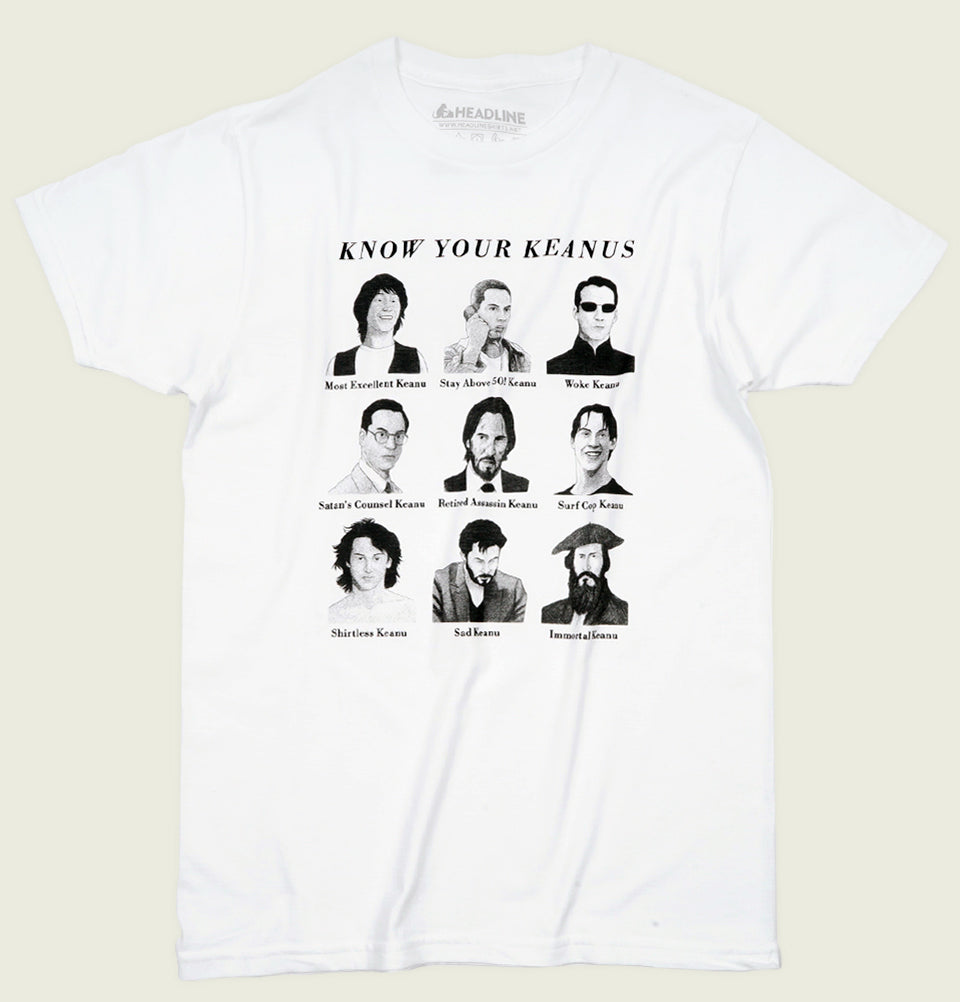 KNOW YOUR KEANUS White Unisex t-shirt - Headline - Tees.ca