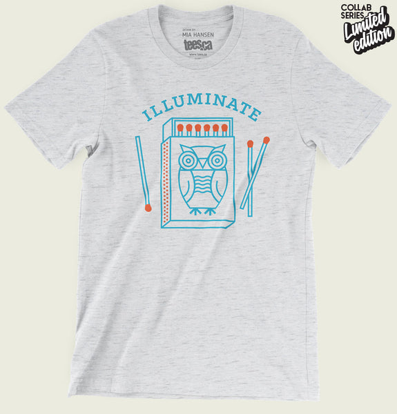 Men T-shirt With Illustration of Owl Next to Matches and Illuminate Text on White Fleck Triblend Graphic Tee Shirt Showing Wrinkled Tshirt - Tees.ca