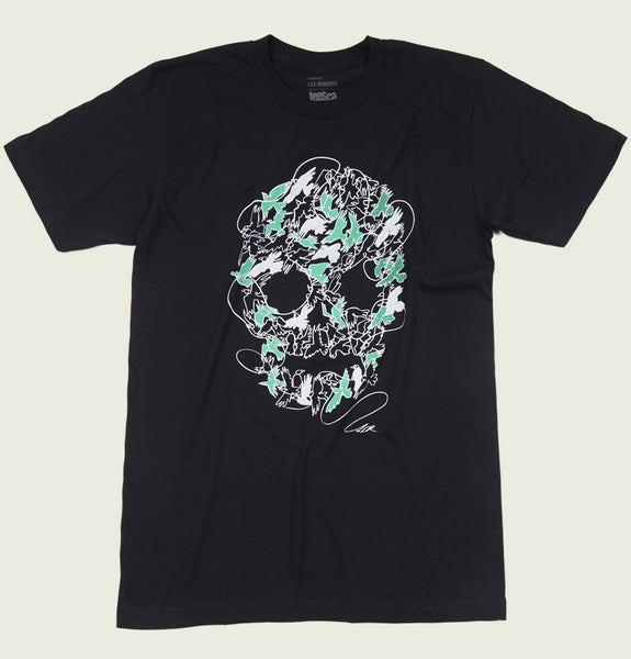 Men T-shirt by Lee Roberts With Raven Birds in Different Positions Shaping a Skull Printed on Black Graphic Tee Shirt Showing Wrinkled Tshirt - Tees.ca